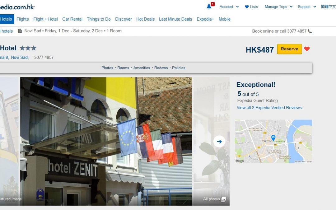 Hotel Zenit na portalu Expedia dobio maksimalnu ocenu i komenatar IZUZETAN